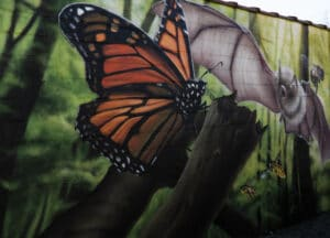 Butterfly on pest control mural
