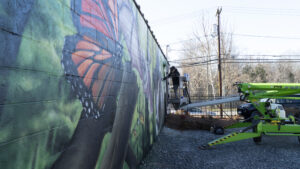 Man spray painting mural on lift